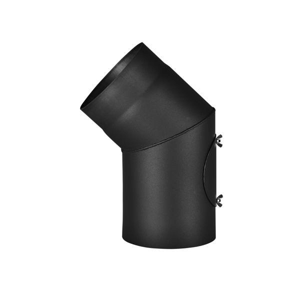 Kouřovod tl. 1,5 mm koleno 45 stupňů s čisticím otvorem HS Flamingo